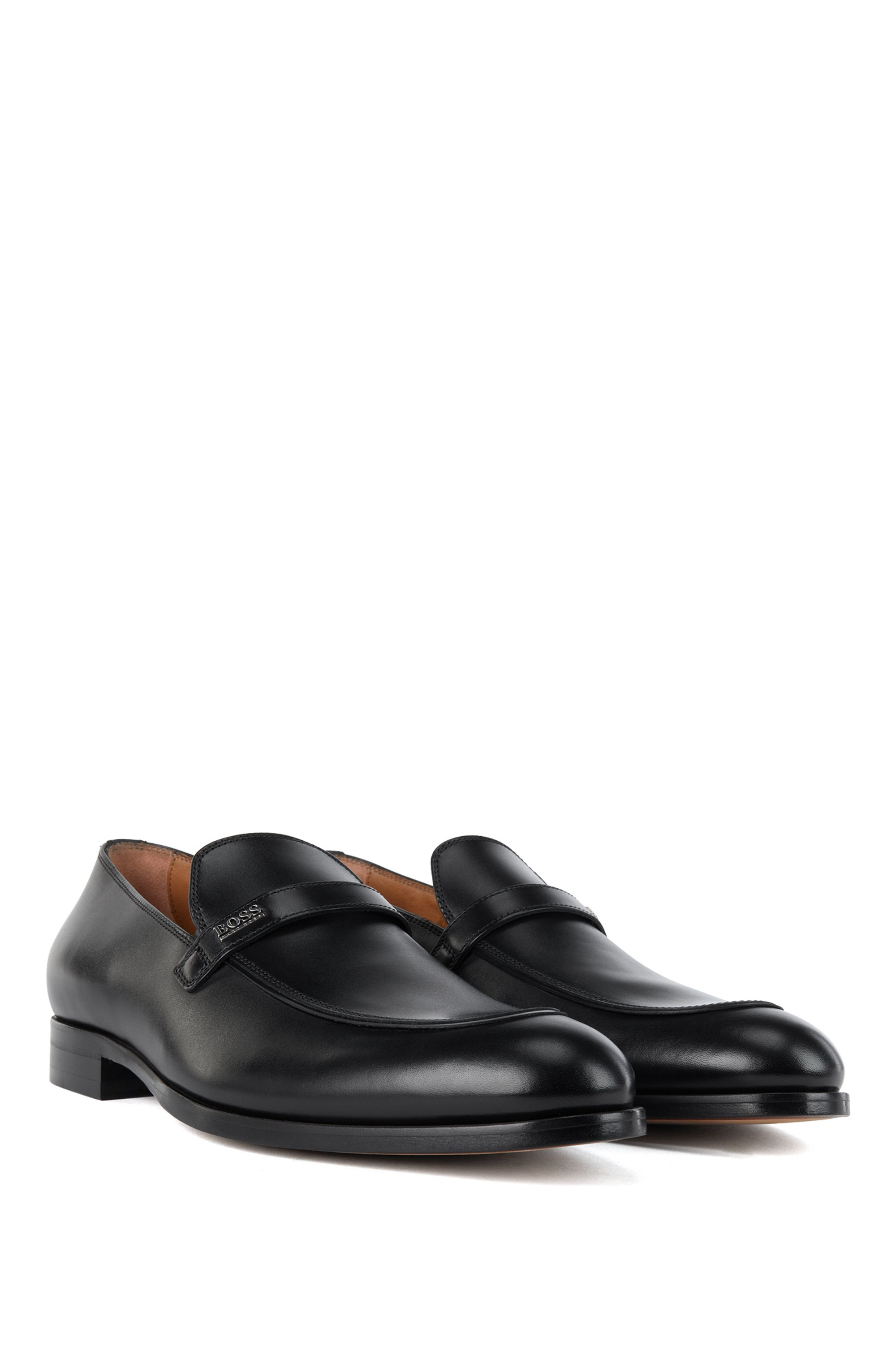 Apron-toe loafers in polished calf leather