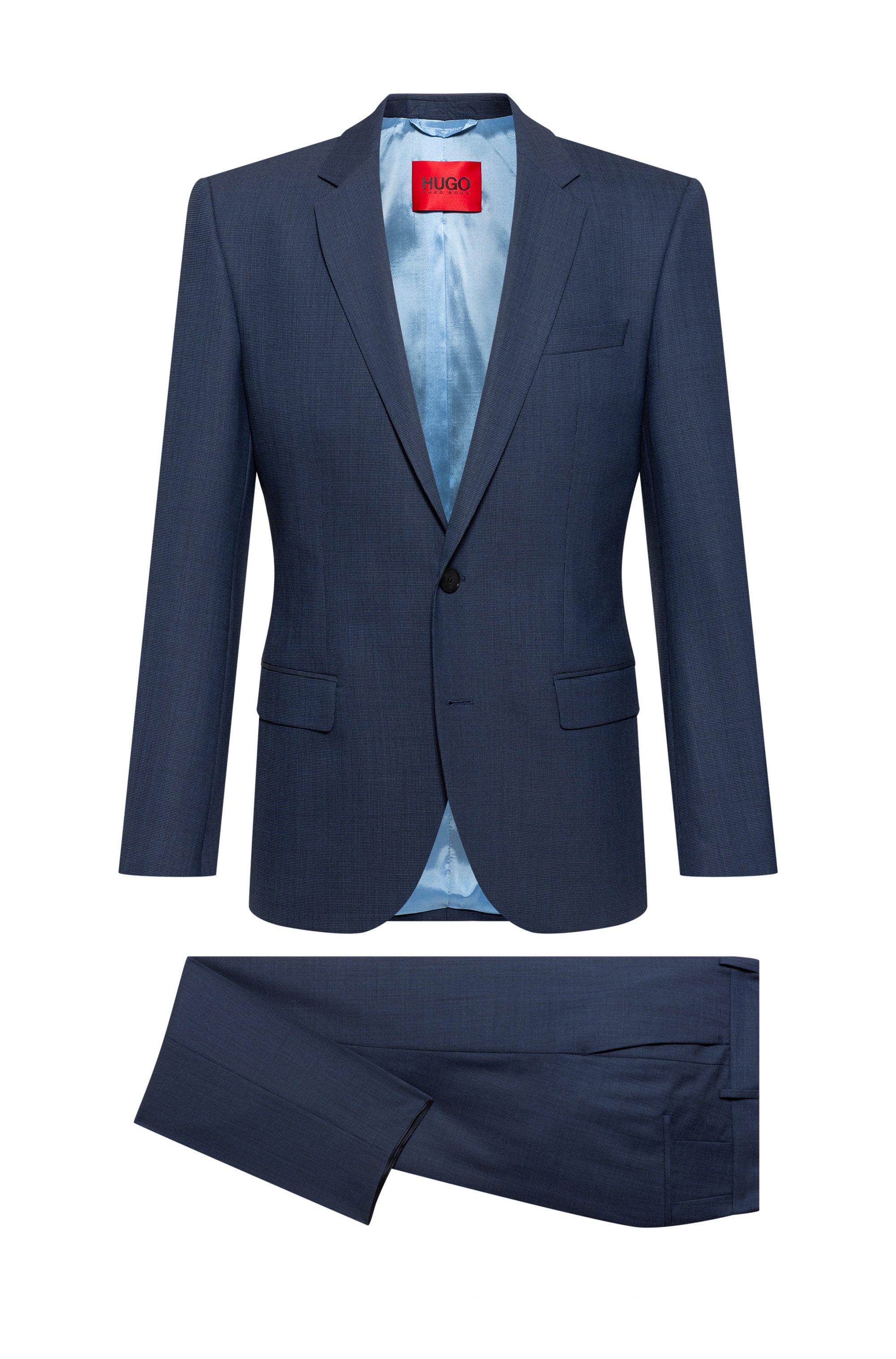 Traje slim fit Super-Flex en mezcla de lana estampada, Azul oscuro