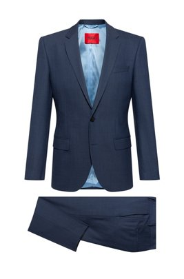 Super-flex slim-fit suit in a patterned wool blend, Dark Blue