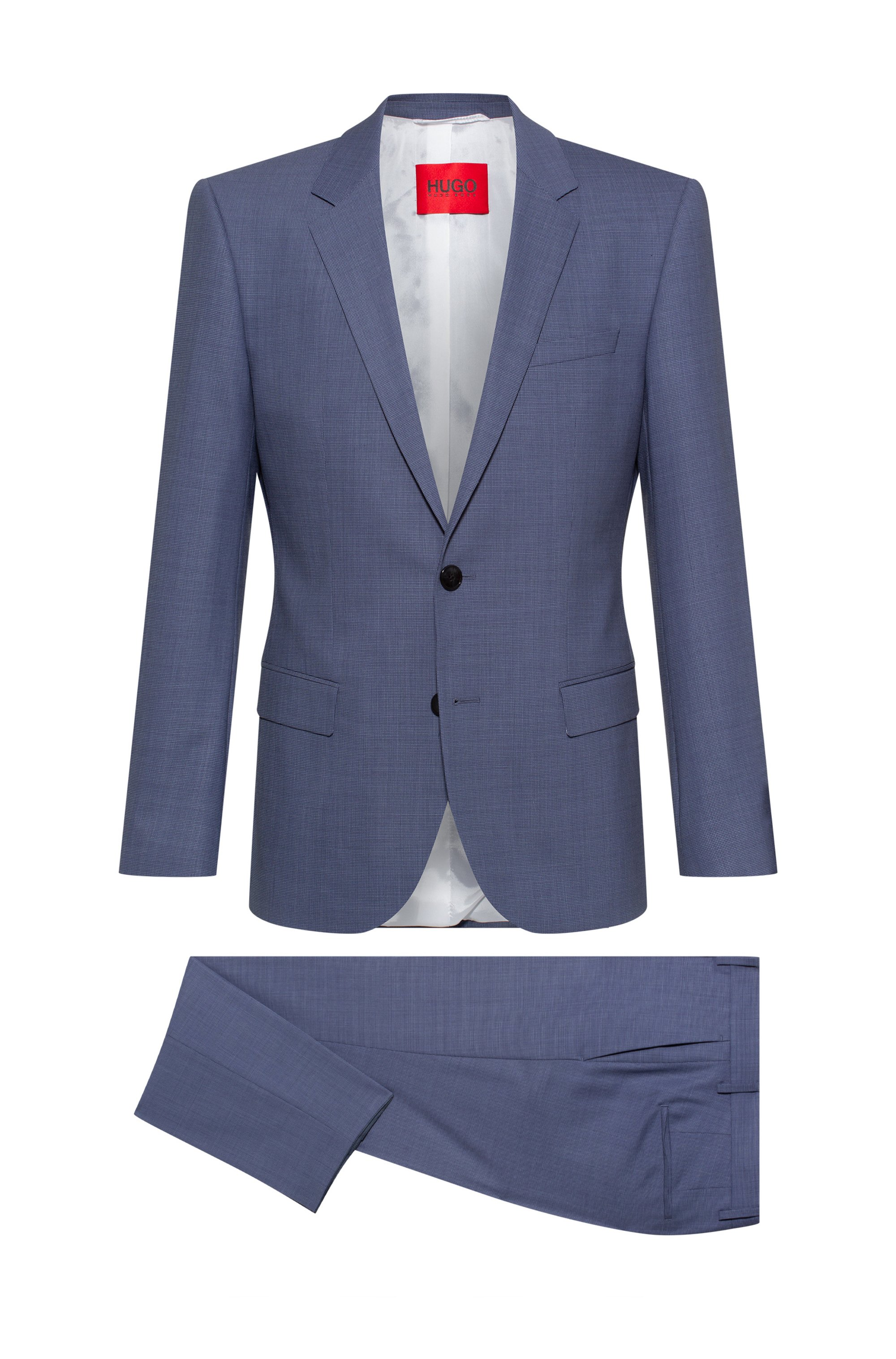 Super-flex slim-fit suit in a patterned wool blend, Blue