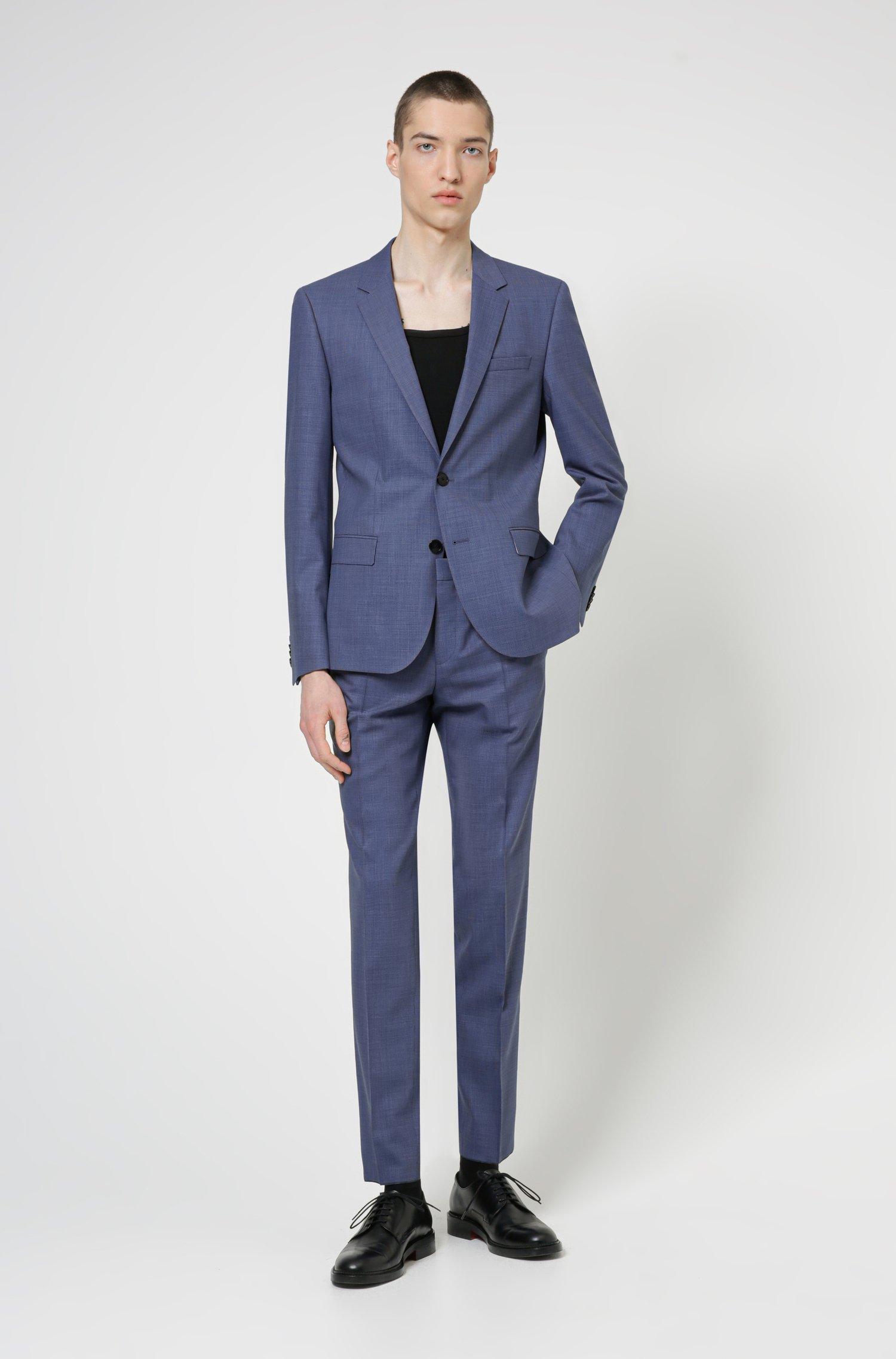 Super-flex slim-fit suit in a patterned wool blend, Blue