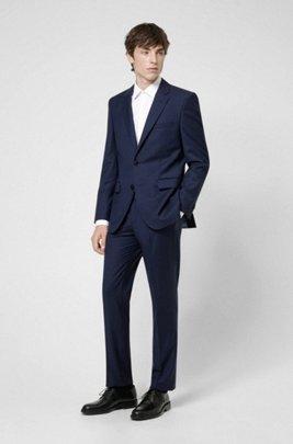 Regular-fit suit in virgin-wool panama, Dark Blue