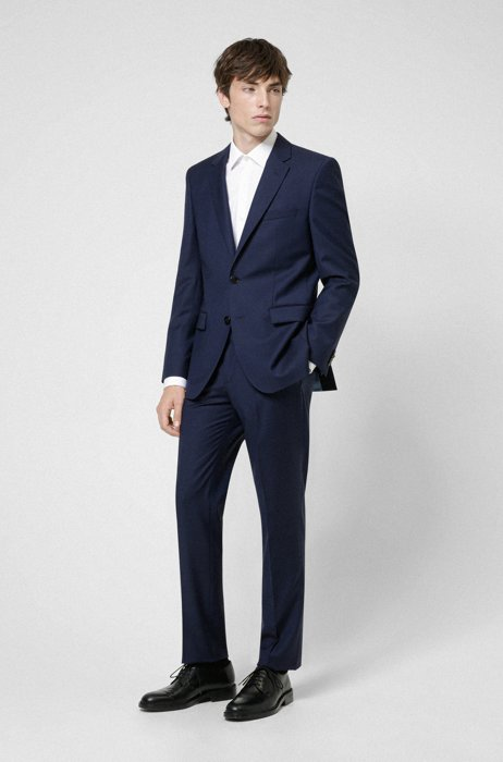 Regular-fit pak van scheerwol met panamastructuur, Donkerblauw