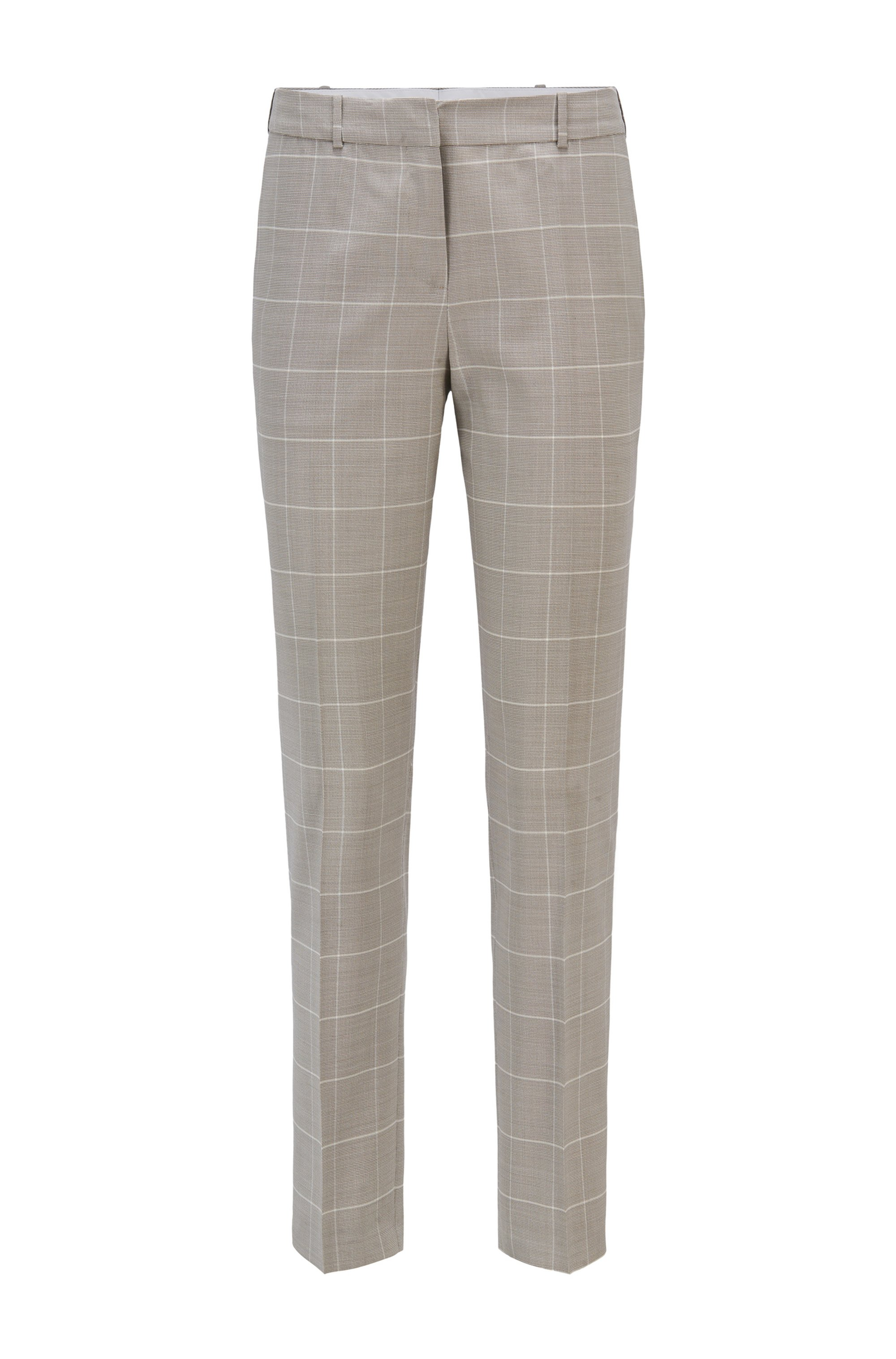 Regular-fit trousers in checked virgin wool and silk, Patterned