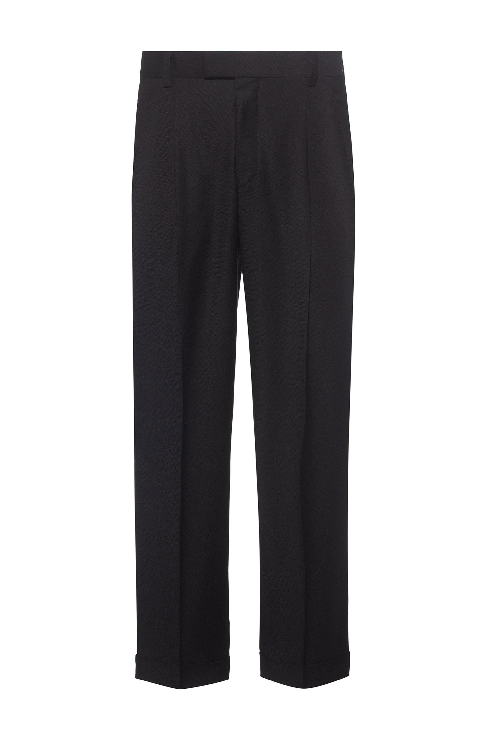 Cuffed slim-fit trousers in virgin-wool panama, Black