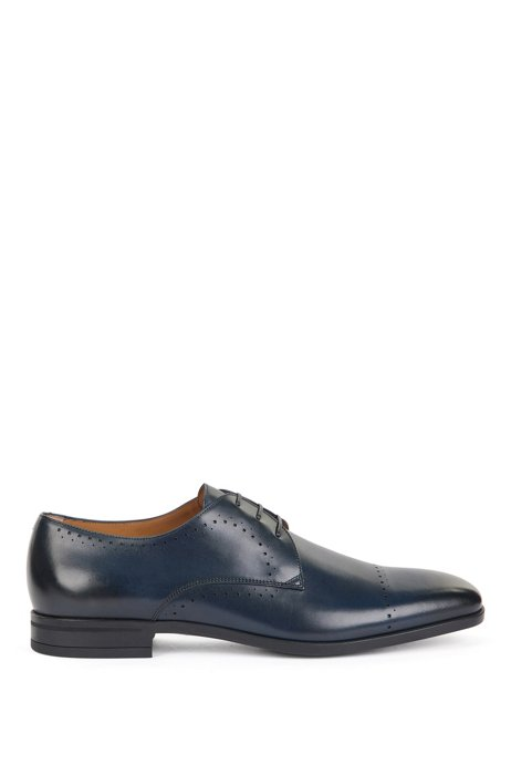 Italian-made Derby shoes in leather with brogue details, Dark Blue