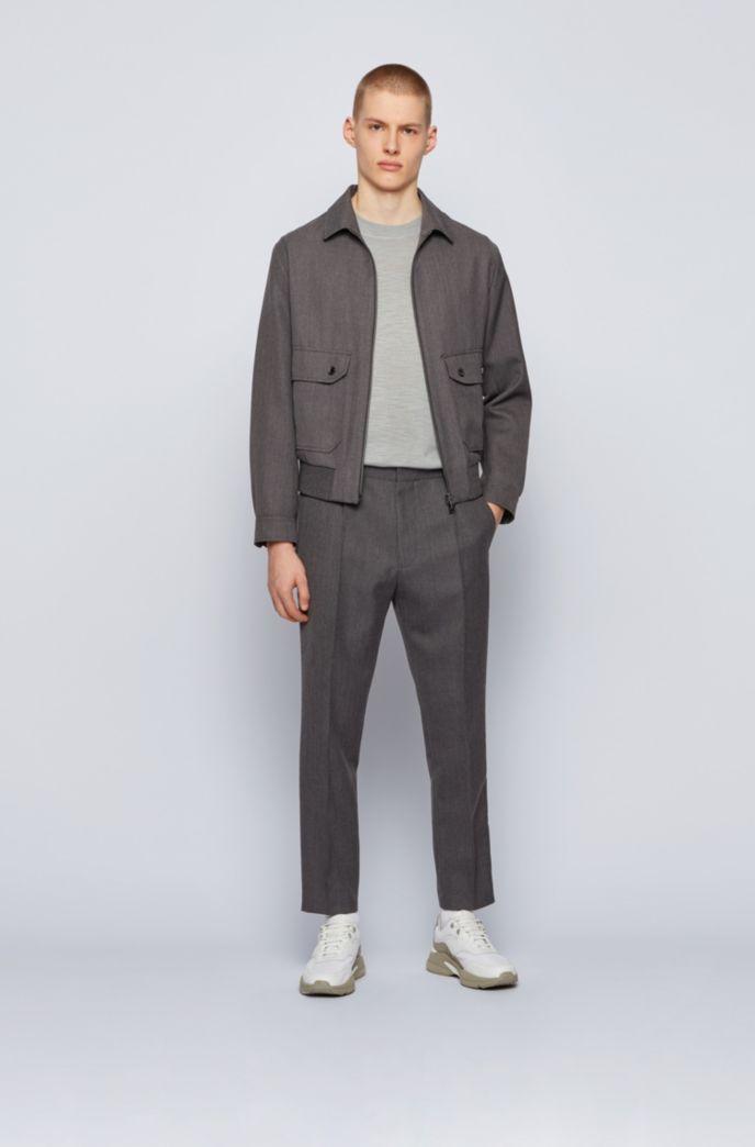 Blouson-style slim-fit jacket in virgin wool