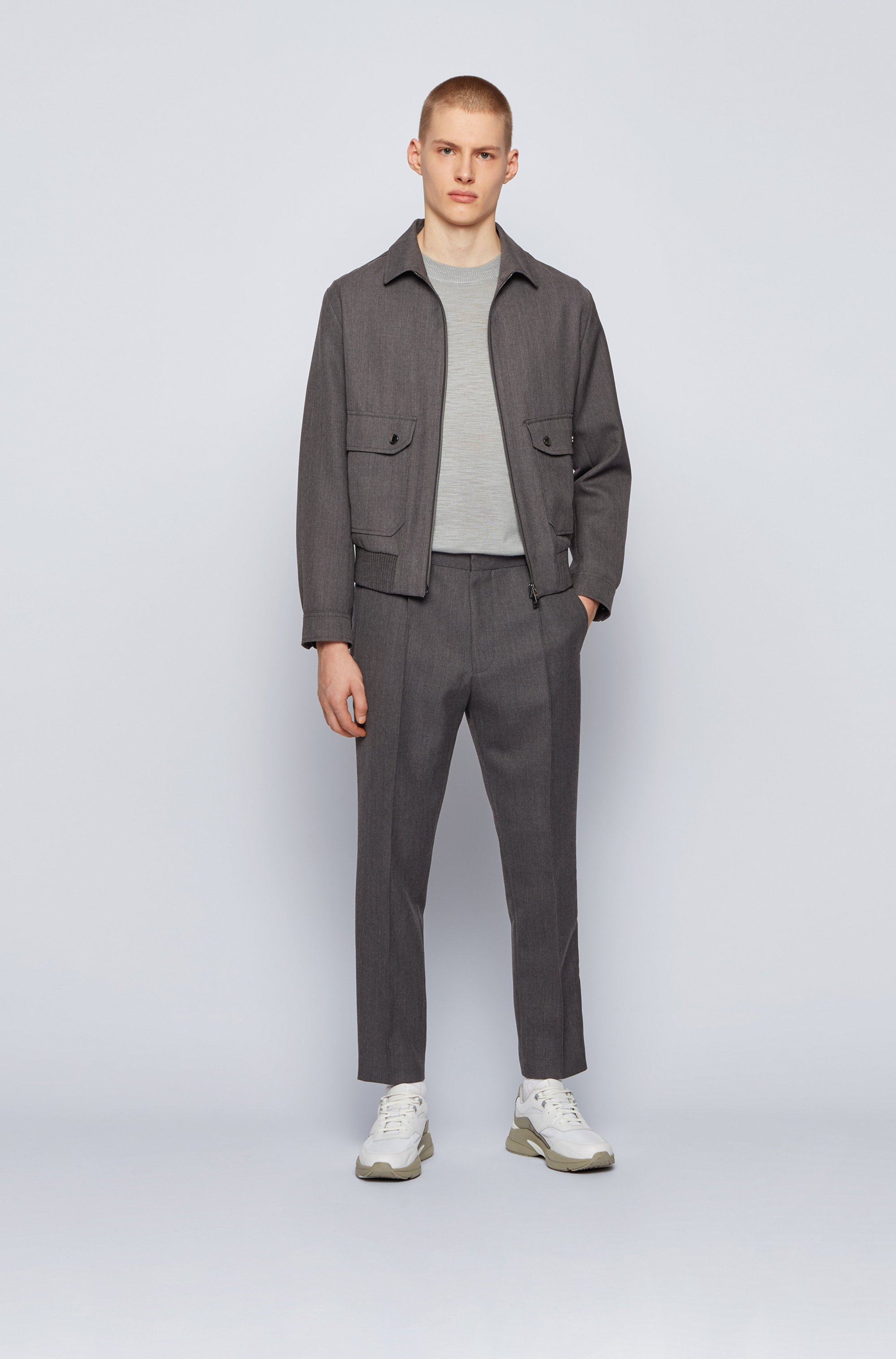 Blouson-style slim-fit jacket in virgin wool