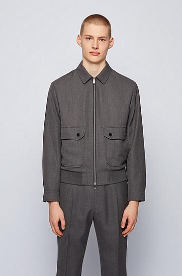 初剪羊毛面料修身版型束腰夹克,  030_Medium Grey