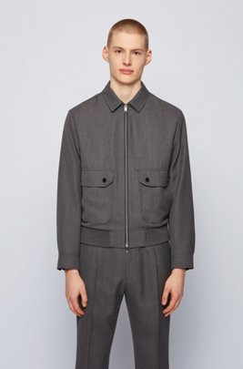 Blouson-style slim-fit jacket in virgin wool, Dark Grey