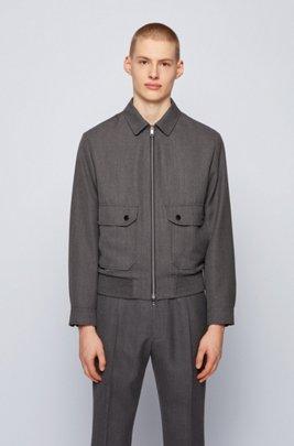 Blouson-style slim-fit jacket in virgin wool, Dark Grey