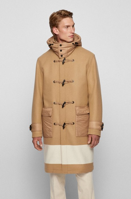 Relaxed-fit duffle coat with colour-blocking, Beige