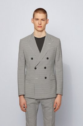 Extra-slim-fit jacket in checked fabric, Black Patterned