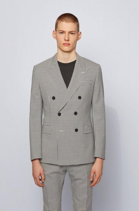 エクストラスリムフィットジャケット チェックファブリック, ブラック パターン