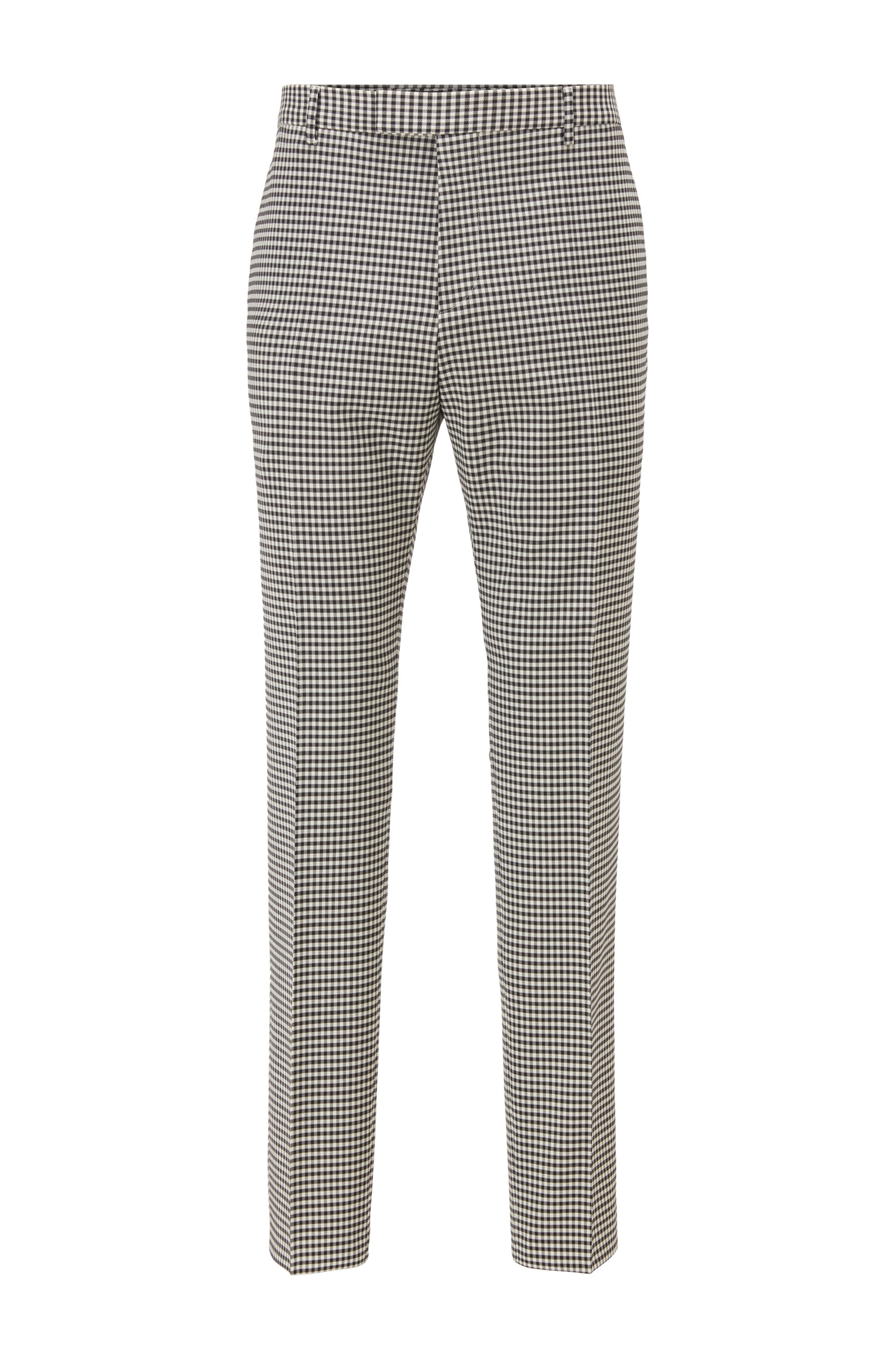 Extra-slim-fit trousers in patterned stretch fabric, Black Patterned
