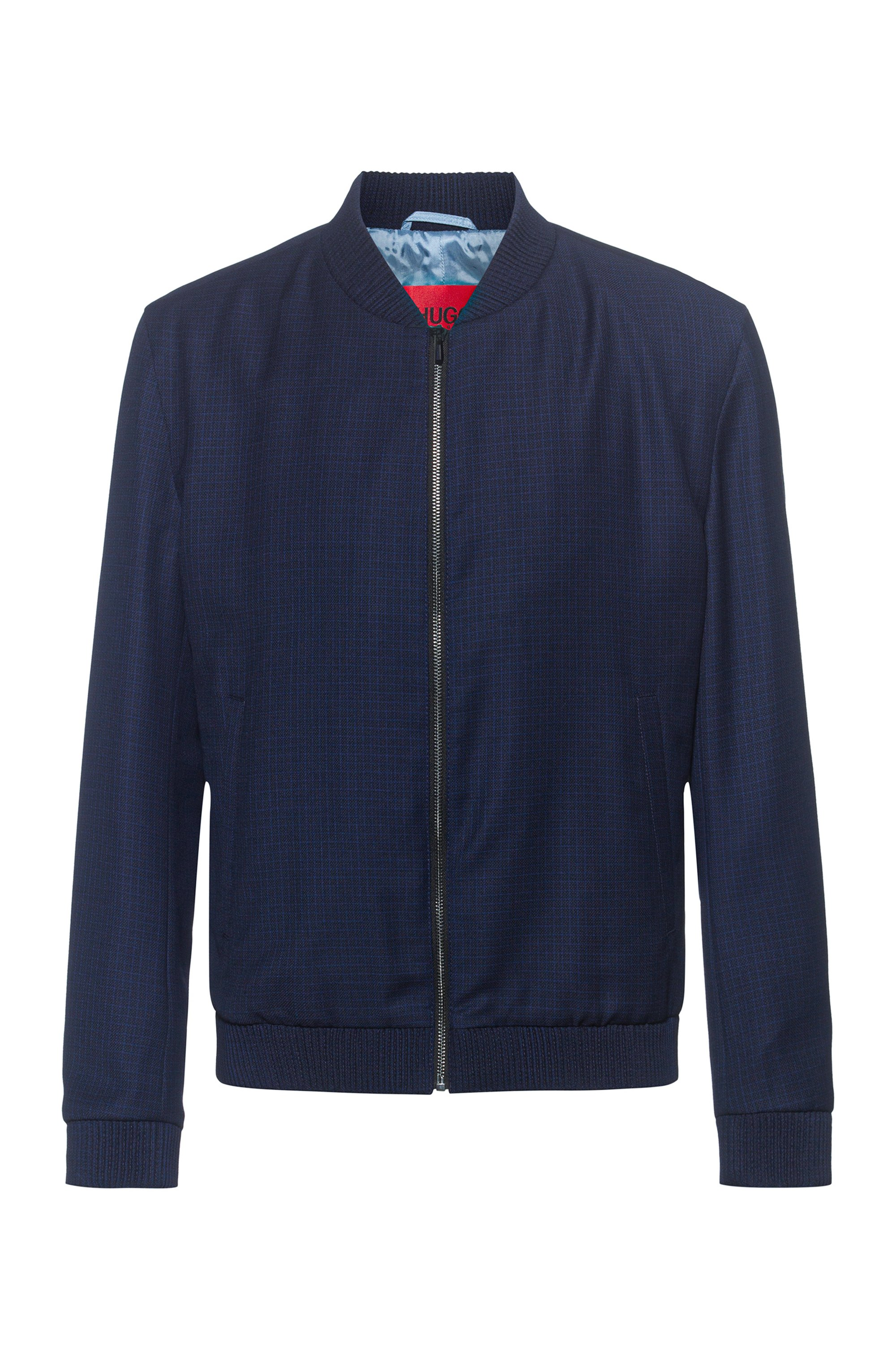 Extra-slim-fit virgin-wool jacket with zip front, Dark Blue