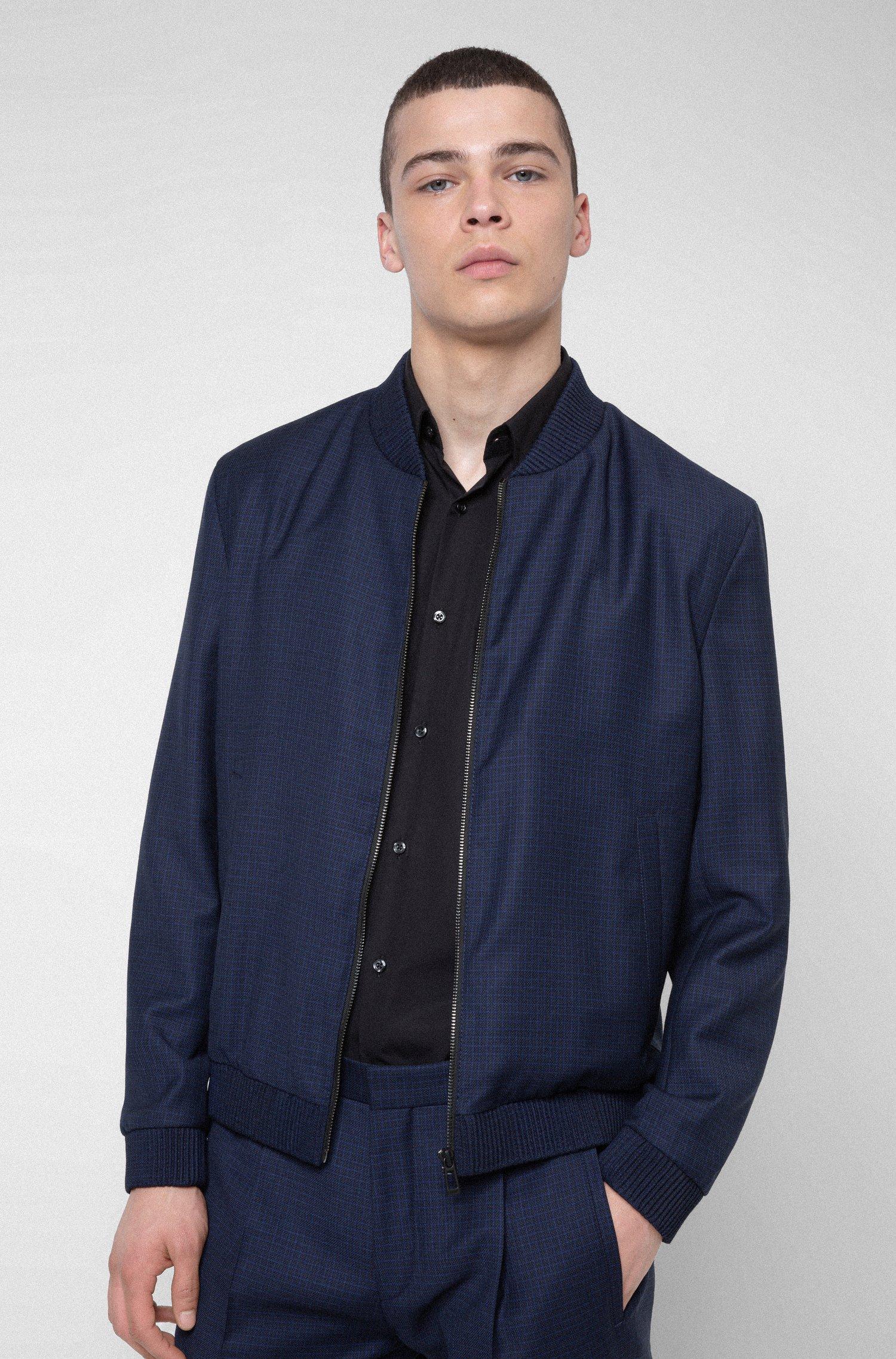 Extra-slim-fit virgin-wool jacket with zip front, Dark Blue