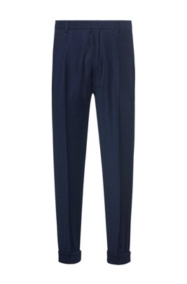 Extra-slim-fit checked-virgin-wool trousers with cuffs, Dark Blue