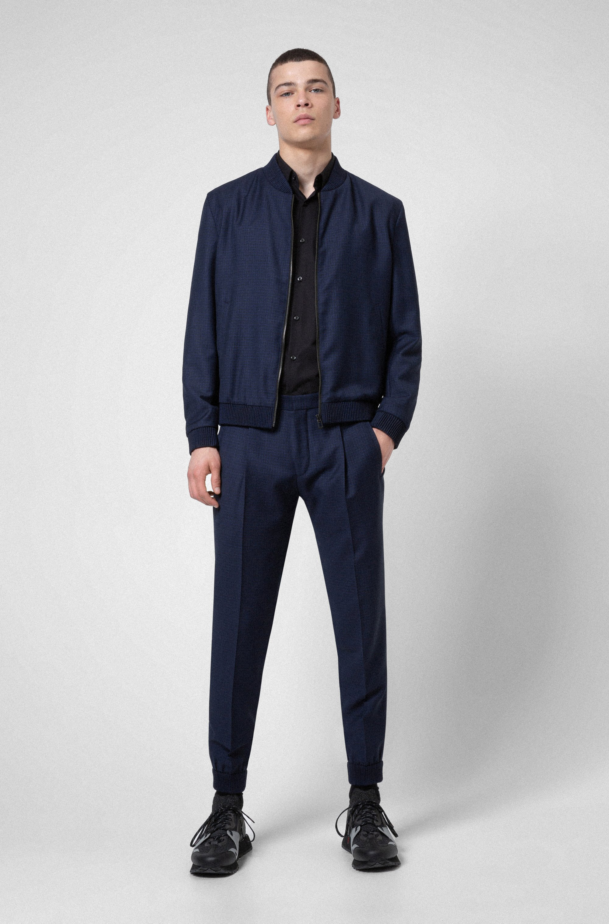 Extra-slim-fit checked-virgin-wool trousers with cuffs