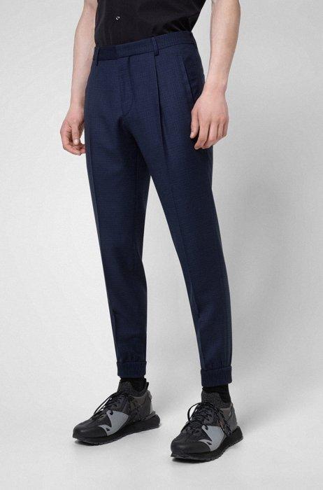 Pantalones extra slim fit de lana virgen a cuadros con puños, Azul oscuro