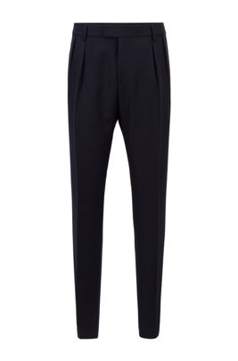 Extra-slim-fit trousers with pleat front, Dark Blue