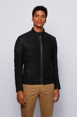 Leather jacket with stand collar, Black