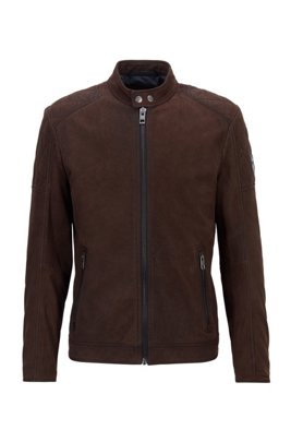 Leather jacket with stand collar, Dark Brown