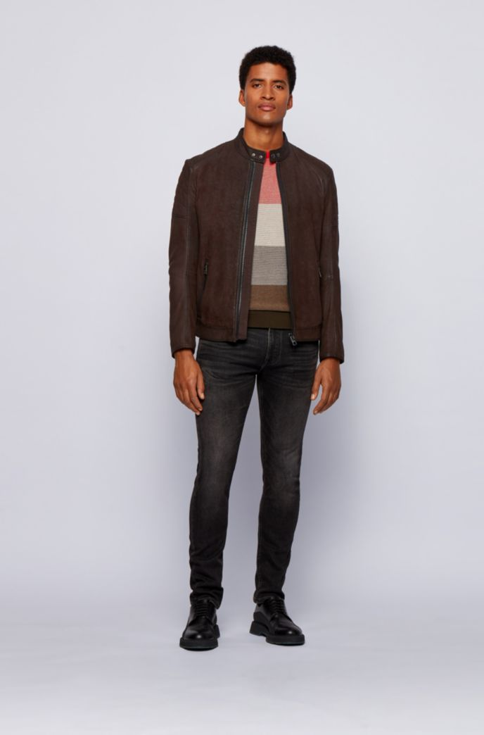 Leather jacket with stand collar