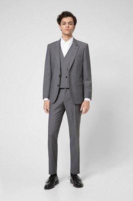 Three-piece suit in textured virgin wool, Grey