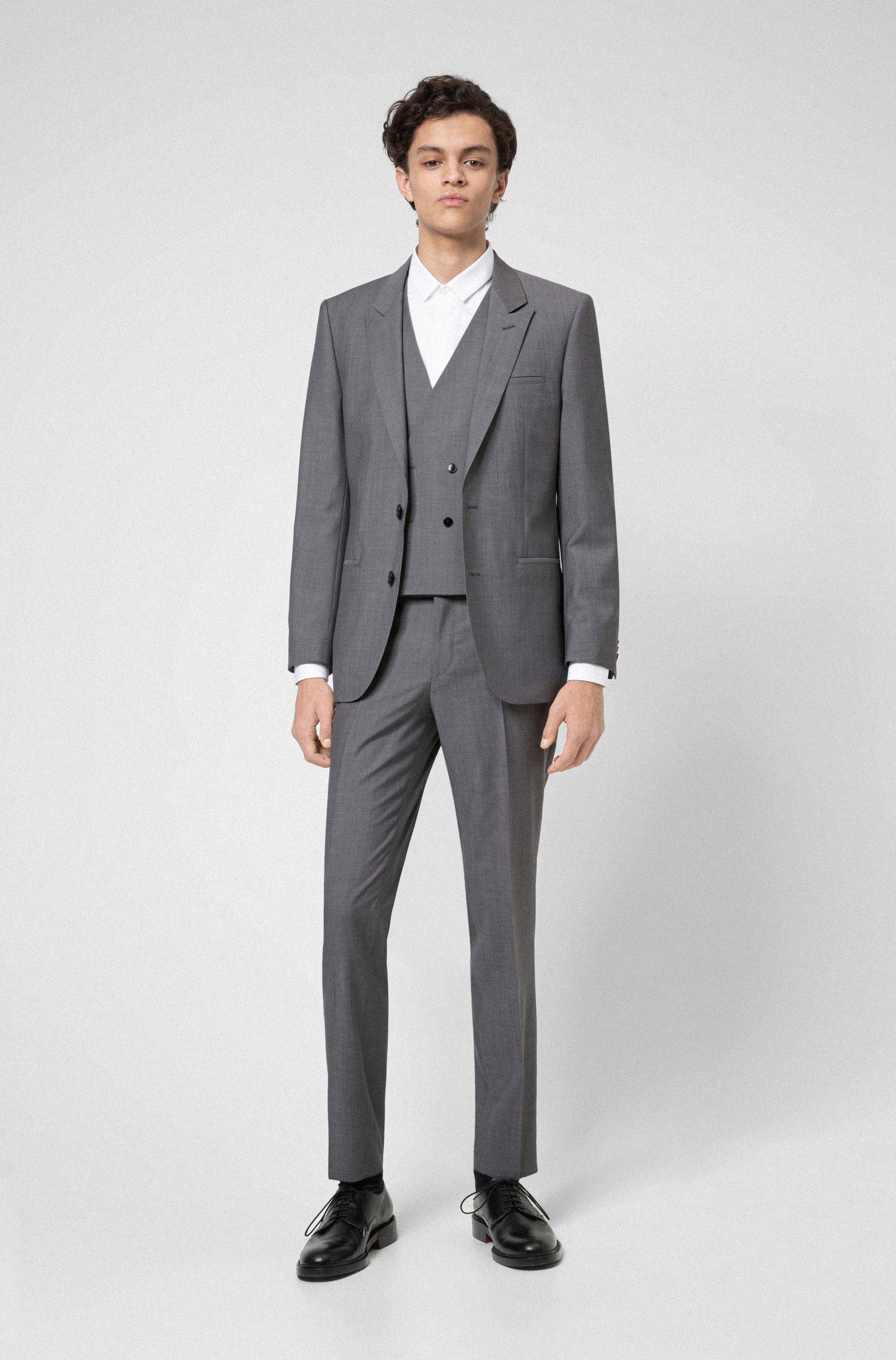 Three-piece suit in textured virgin wool