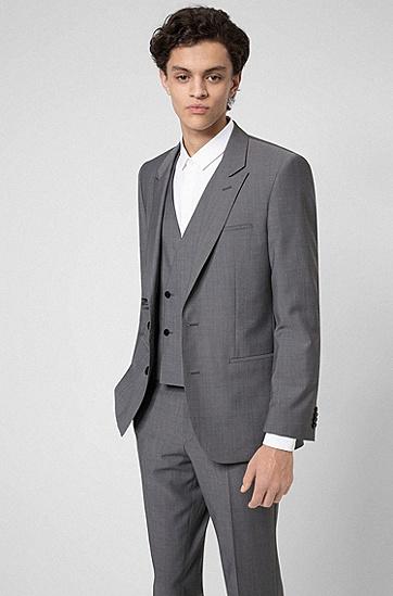 初剪羊毛质感三件套西装,  081_Open Grey