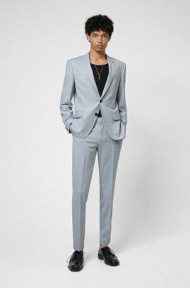Fein gemusterter Slim-Fit Anzug aus Super-Flex-Gewebe, Hellblau