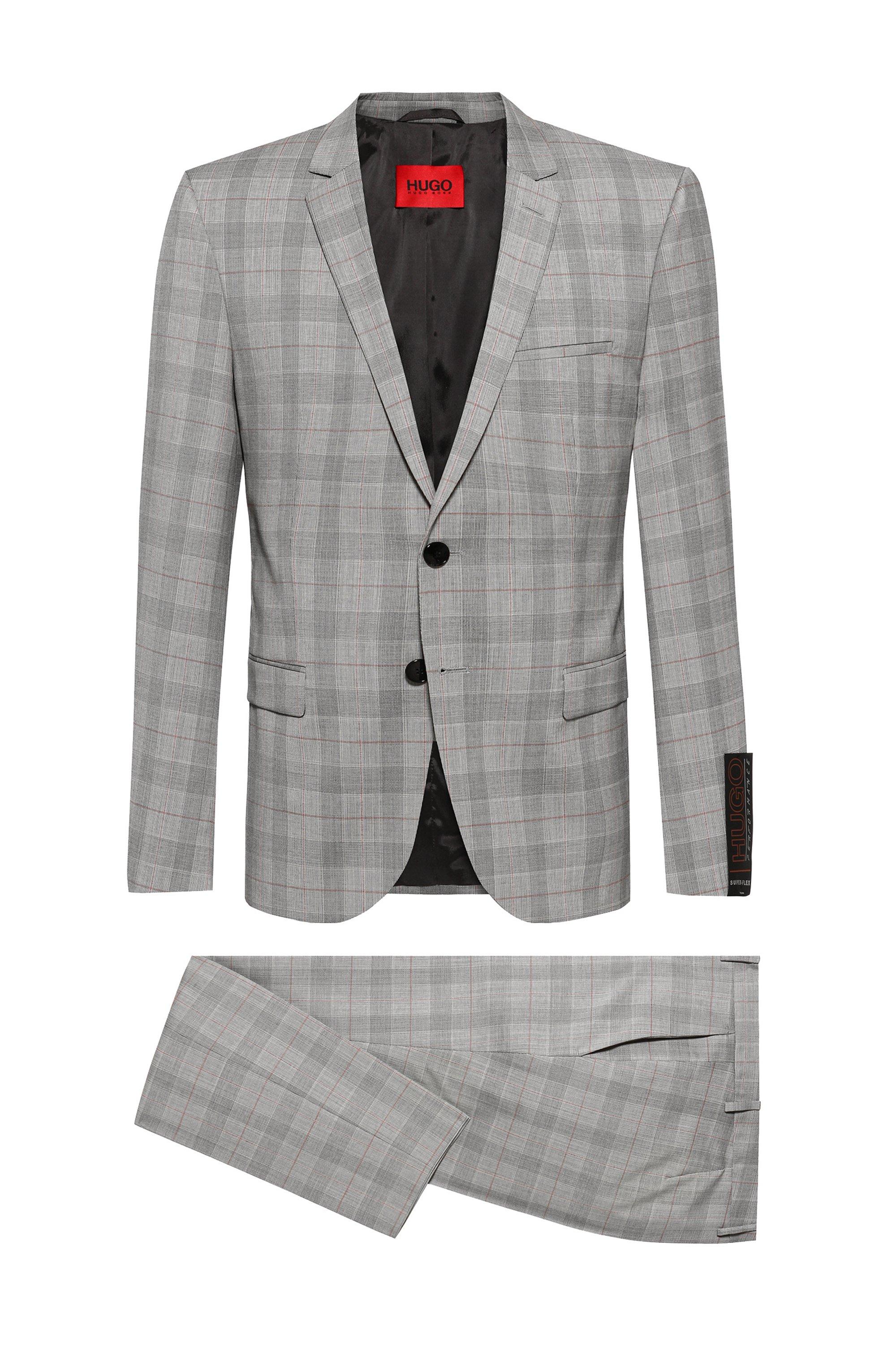 Extra-slim-fit suit in super-flex virgin wool, Grey