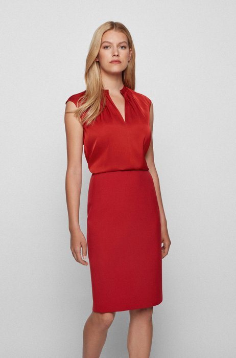 Stretch-silk crepe-de-chine top with gathered neckline, Red