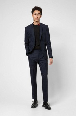 Extra-slim-fit suit in checked stretch fabric, Dark Blue