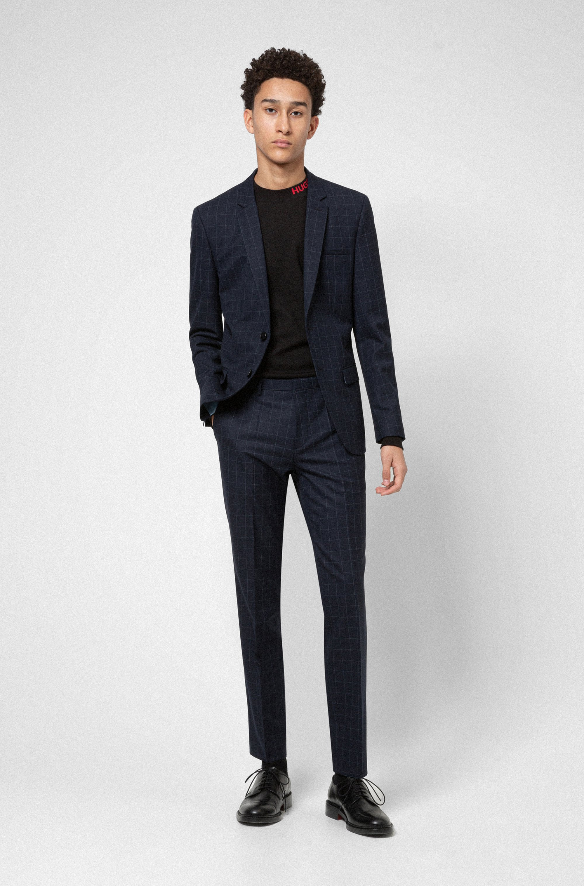 Extra-slim-fit suit in checked stretch fabric