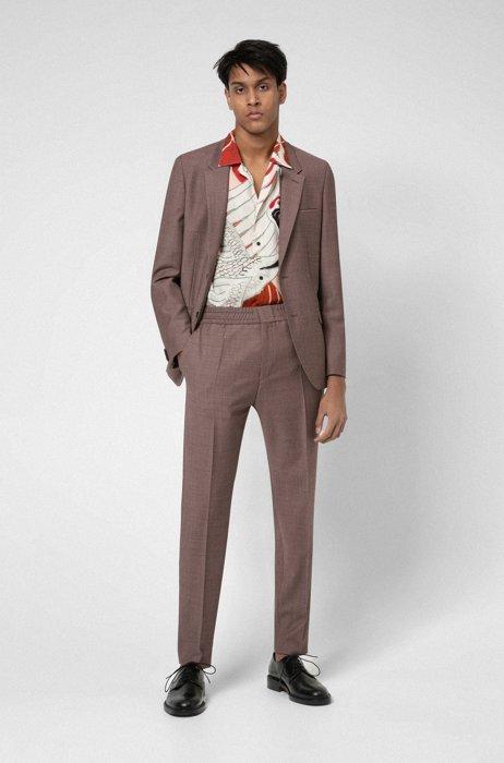 Costume Extra Slim Fit en laine mélangée très souple, Marron à motif