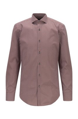 Slim-fit shirt in printed stretch cotton, Brown Patterned