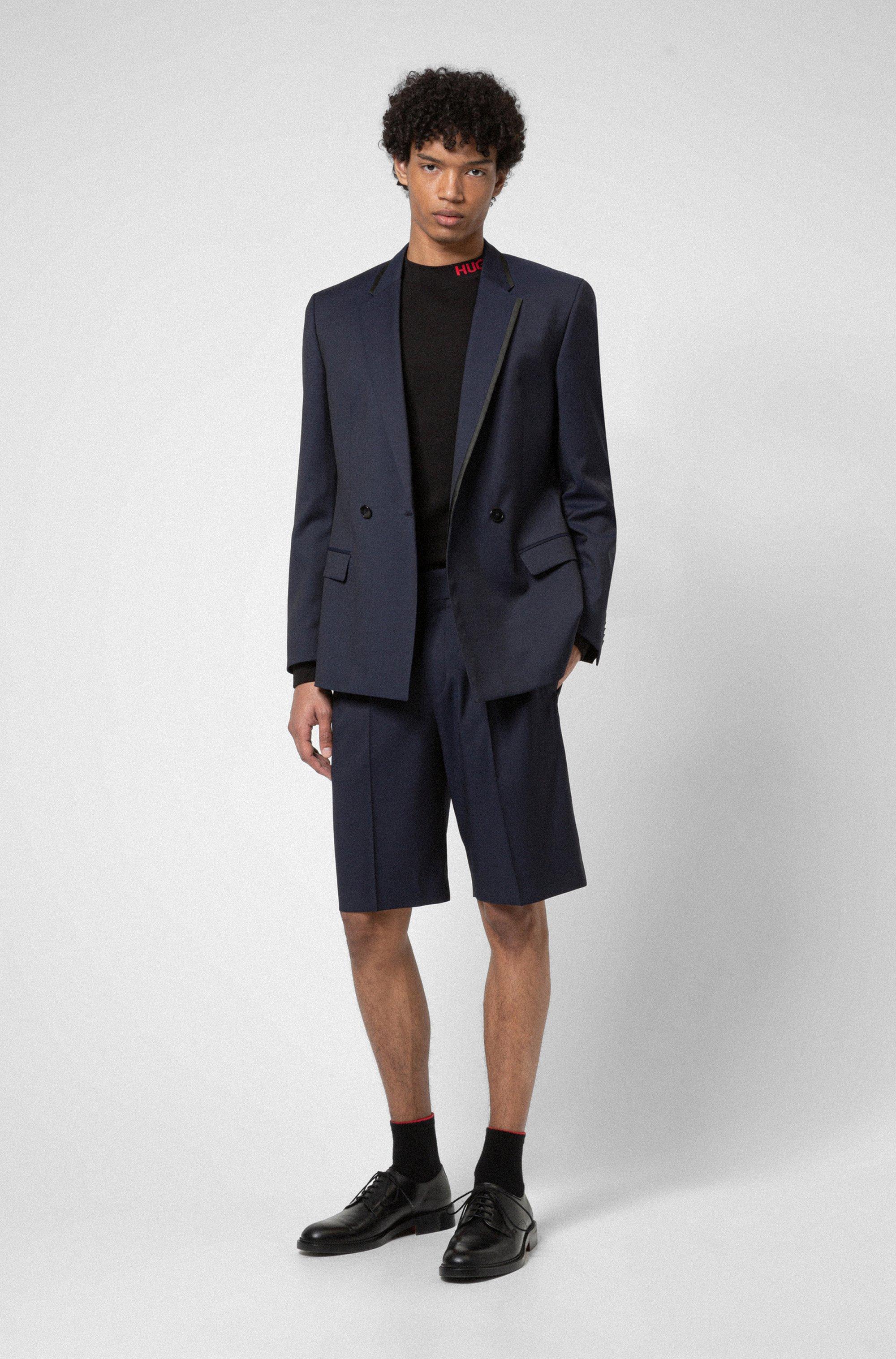 Double-breasted slim-fit jacket in virgin-wool twill