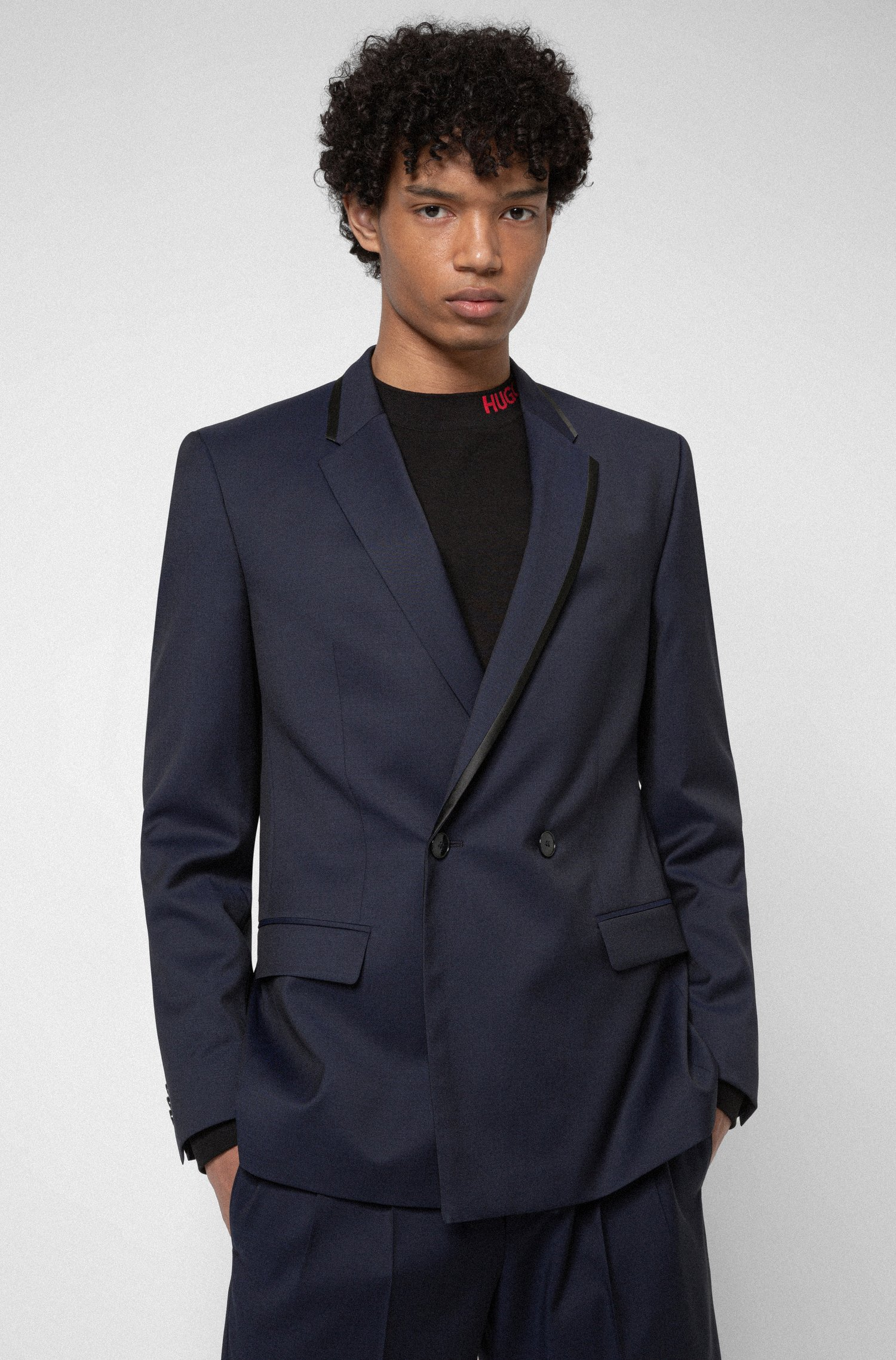 Double-breasted slim-fit jacket in virgin-wool twill, Dark Blue