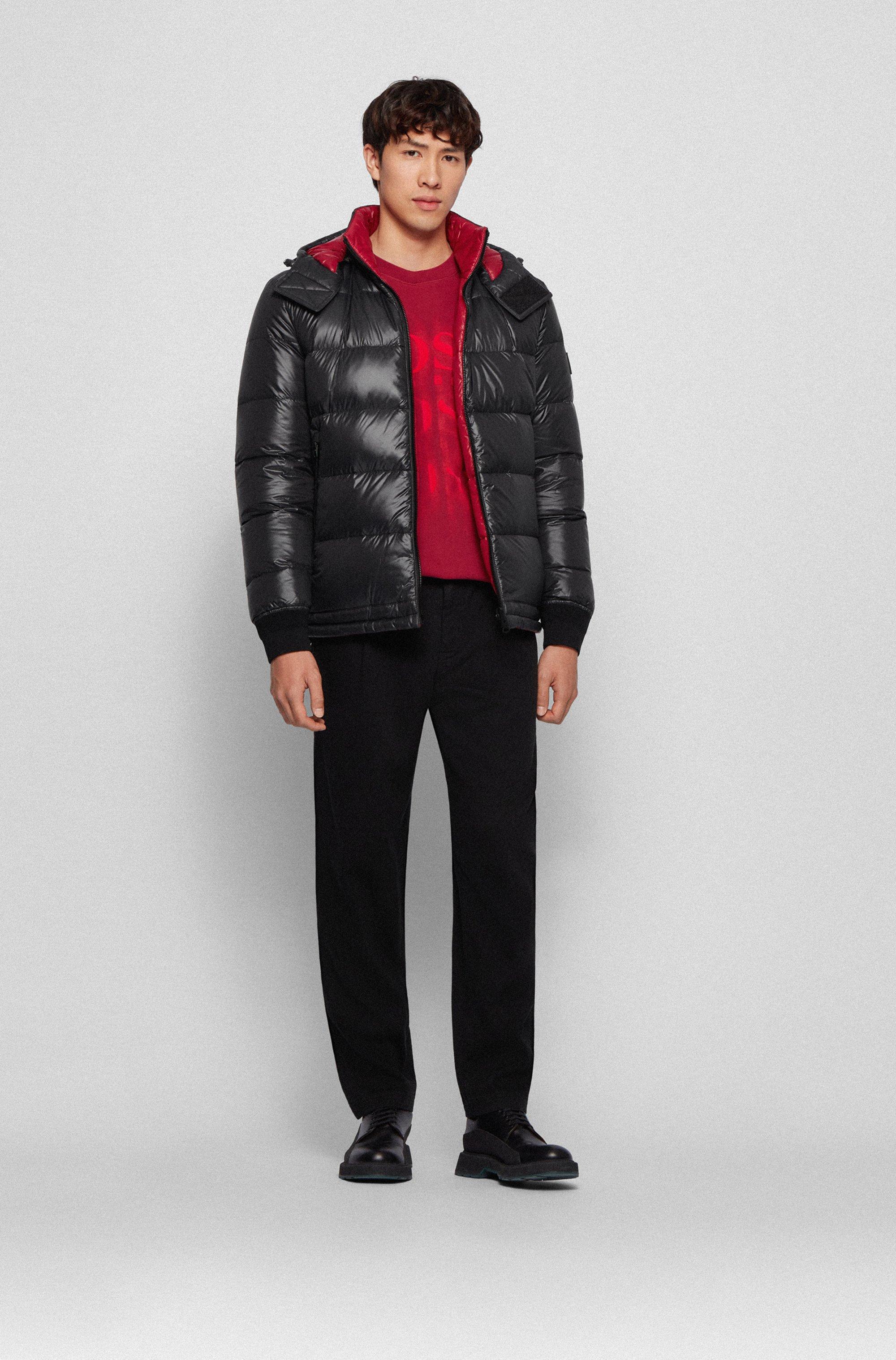 Reversible down jacket in printed fabric