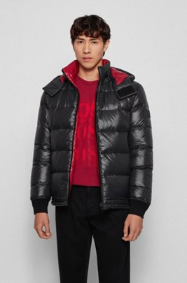 Reversible down jacket in printed fabric, Black