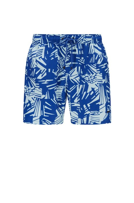 Abstract-print swim shorts in quick-drying recycled fabric, Blue