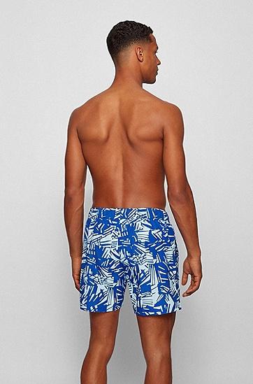 速干面料抽象印花游泳短裤,  428_Medium Blue
