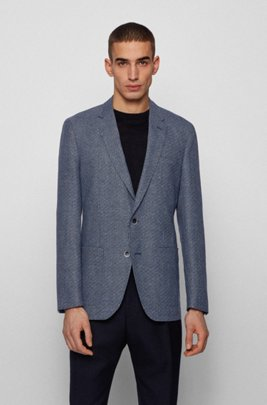 Slim-fit jacket in micro-patterned fabric, Blue Patterned