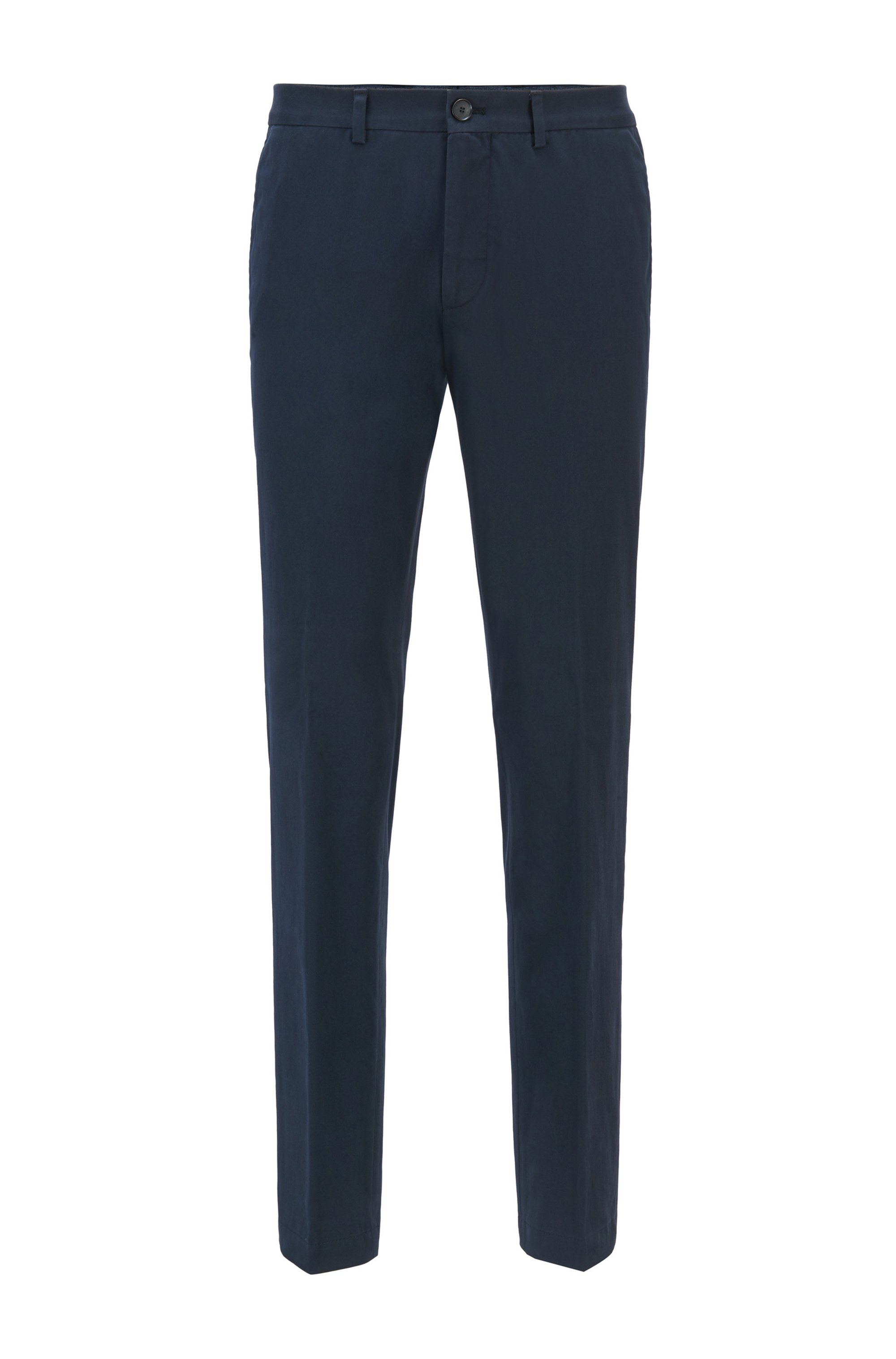 Extra-slim-fit stretch-cotton trousers with monogram lining, Dark Blue