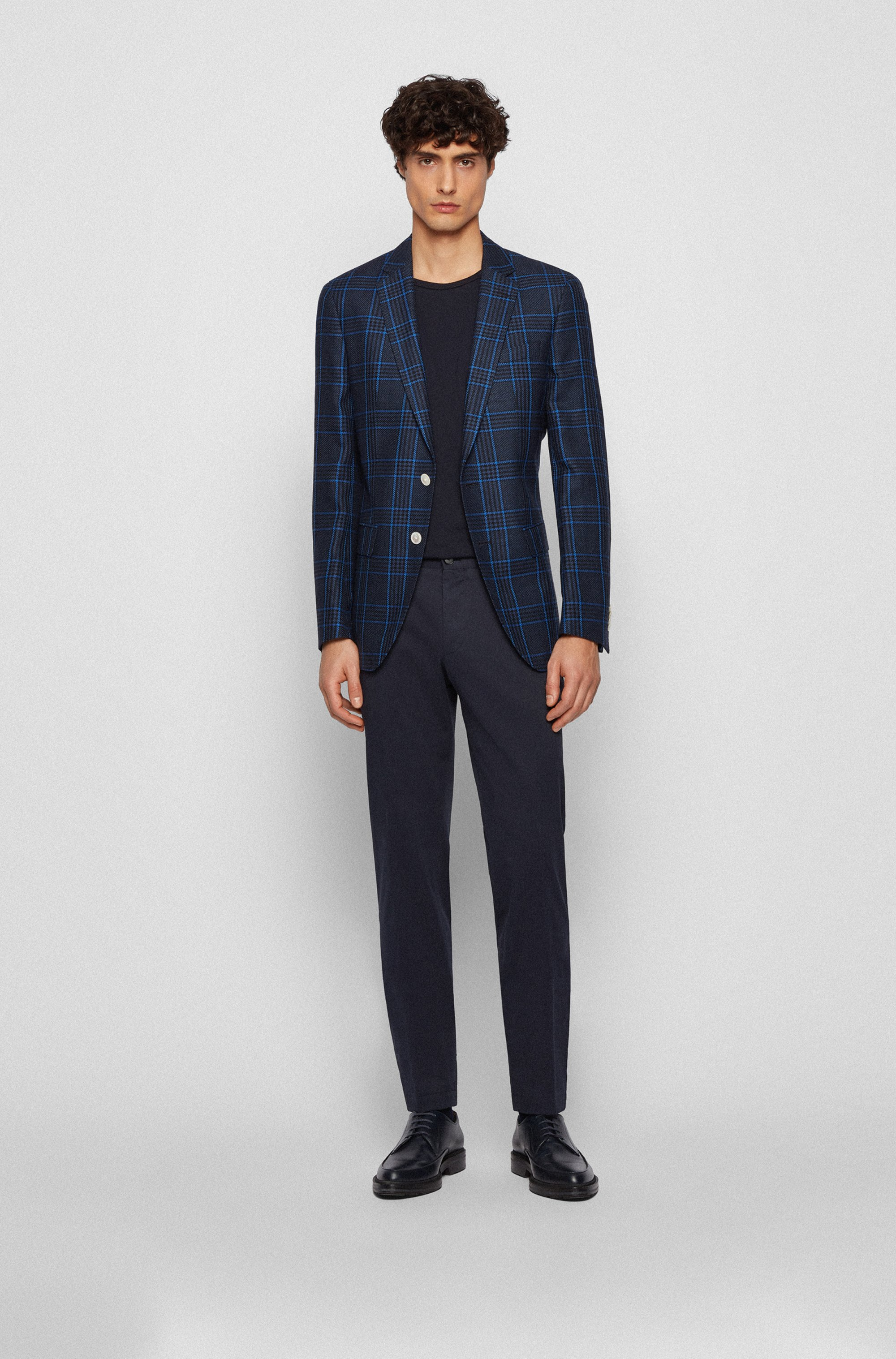 Extra-slim-fit stretch-cotton trousers with monogram lining
