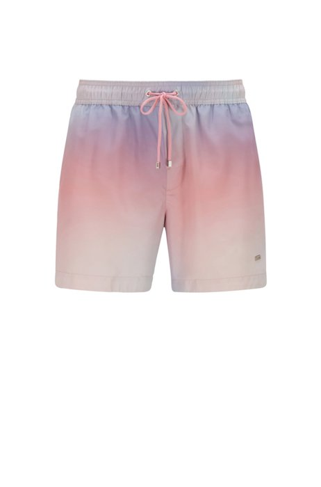 Printed swim shorts in quick-drying recycled fabric, Light Blue