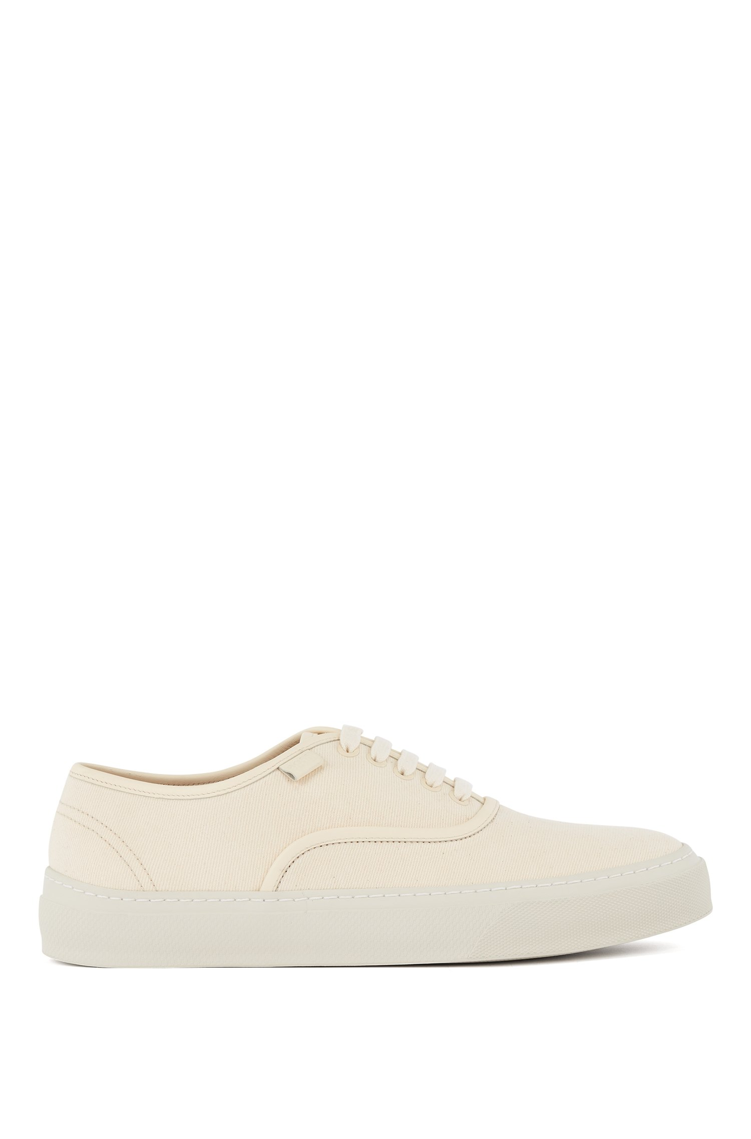 Italian-made trainers with organic-cotton-blend uppers, Light Beige