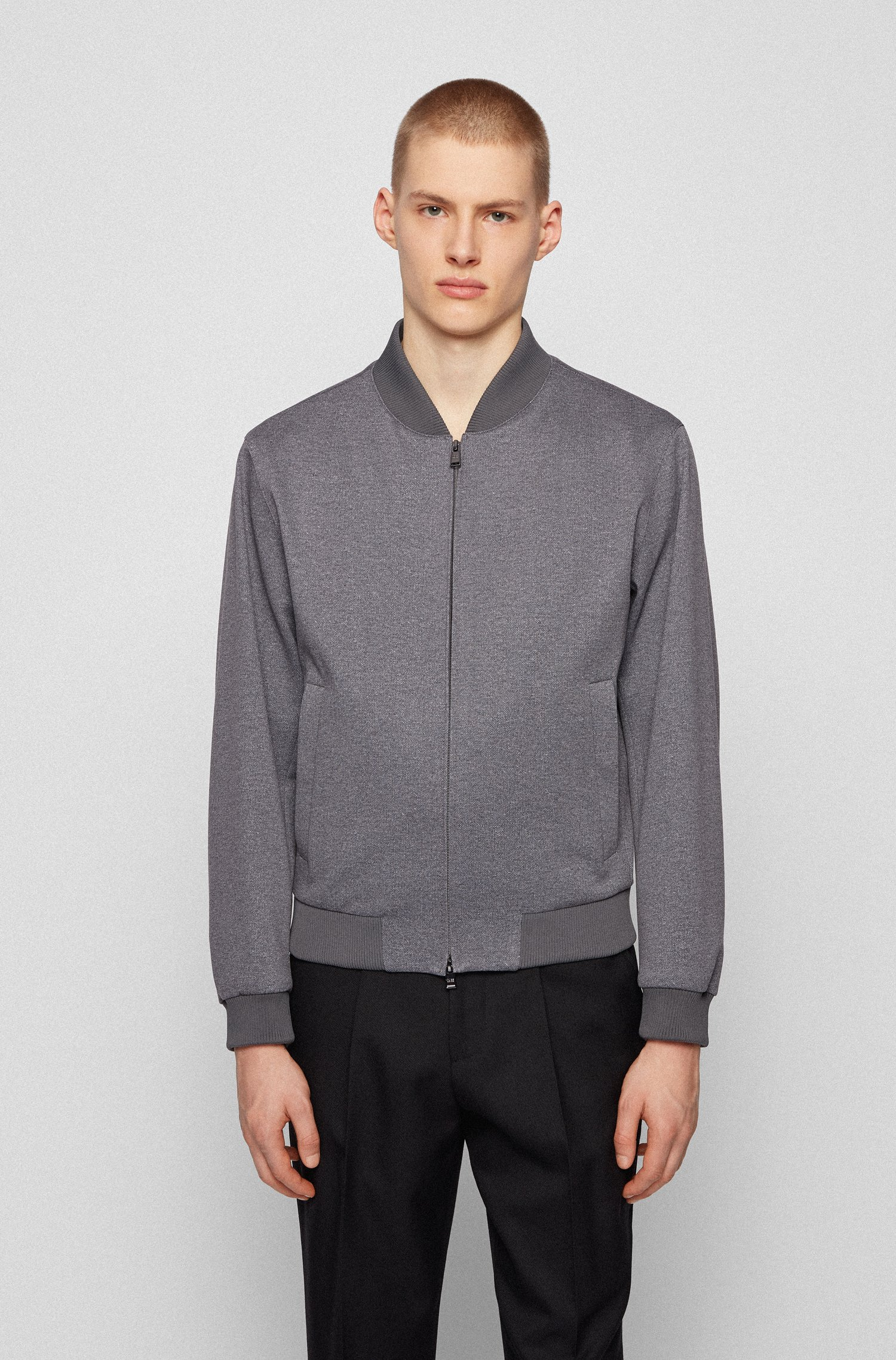 Blouson-style slim-fit jacket in micro-patterned fabric, Grey
